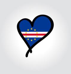 Cape verde flag heart-shaped hand drawn logo vector