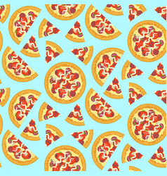 cartoon bright tasty italian pizza pattern vector image