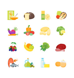 cartoon color healthy food set vector image