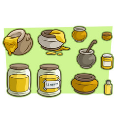 Cartoon jar cup with honey icon set vector