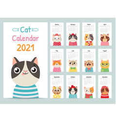 Cat calendar color gift 2021 calendar with cute vector