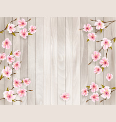 cherry branch with a pink flowers on wooden vector image