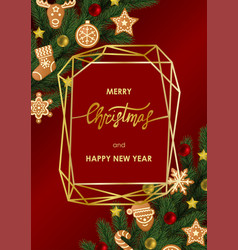 Christmas and new year greeting card with vector