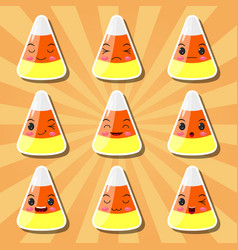 Collection of cartoon candy corn smileys vector