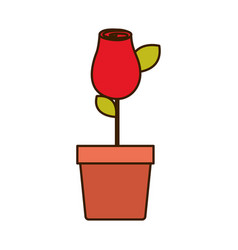 Colorful drawing red rosebud with leaves and stem vector
