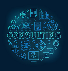 Consulting round blue outline vector