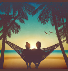 couple in love at beach on hammock background vector image