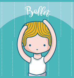Cute boy ballet dancer cartoon vector