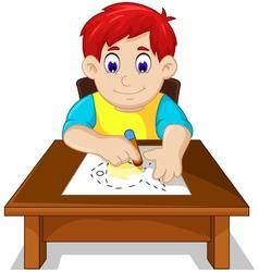 Cute boy child cartoon drawing fish vector
