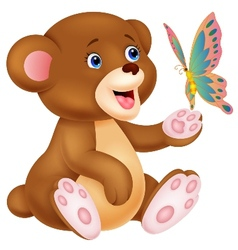 Cute cartoon baby bear playing with butterfly vector image
