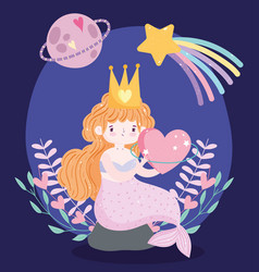 cute little mermaid with pink tail sitting on rock vector image
