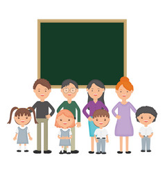 cute little students group with teachers and vector image