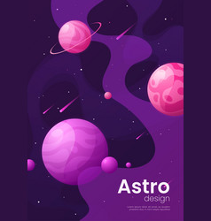 Deep space futuristic cartoon background cover vector