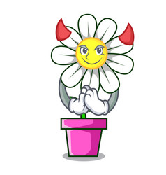 Devil daisy flower mascot cartoon vector