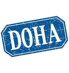 Doha blue square grunge retro style sign vector