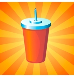 Drink in disposable cup vector