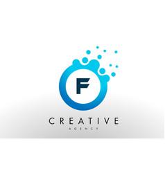 f letter logo blue dots bubble design vector image
