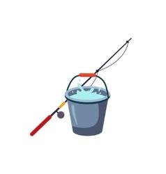 Fishing Rod And Bucket vector image