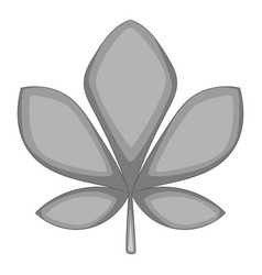 Five lobes green leaf icon monochrome vector