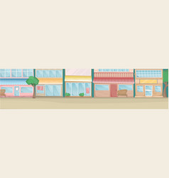 flat city landscape street with bright houses vector image