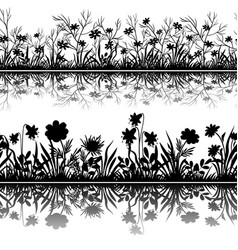 flowers silhouettes seamless vector image