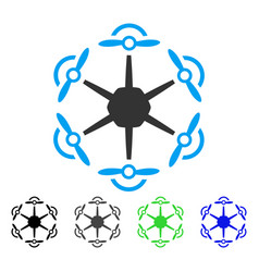 Flying hexacopter flat icon vector