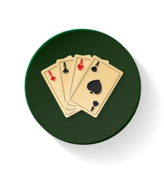 Four aces colored flat icon vector image