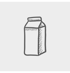 Fresh milk in a box sketch icon vector image