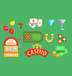 gambling and casino night club set of symbols vector image