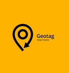 geotag with arrow or location pin logo icon design vector image