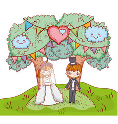 girl and boy clouple marriage with trees and heart vector image