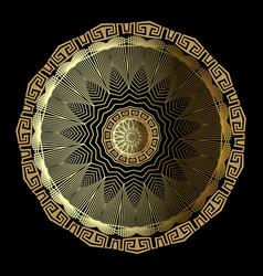 gold 3d floral greek mandala pattern ornamental vector image
