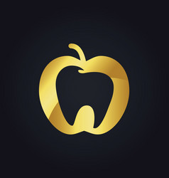 gold apple fruit tooth dentist logo vector image