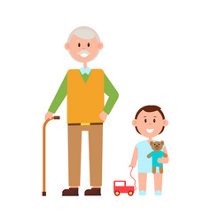 Grandfather grandson banner vector