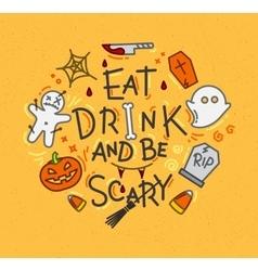 Halloween poster flat mustard vector