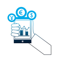 hand with smartphone chart business coins dollar vector image