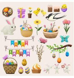 happy easter concept colourful poster labels vector image