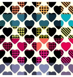 Hearts on plaid background vector