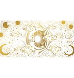 Heavenly card for astrology tarot boho design vector