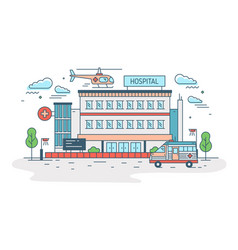 hospital clinic or medical center building with vector image