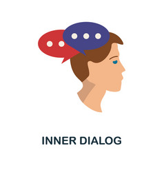 Inner dialog icon simple element from personality vector