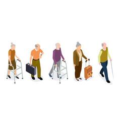 Isometric elderly people set active older vector