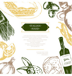 Italian food - color hand drawn composite flyer vector