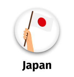 japan flag in hand round icon vector image