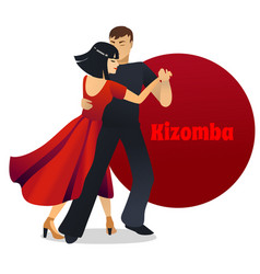 Kizomba dancing couple in cartoon style vector