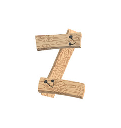 Letter z wood board font plank and nails alphabet vector