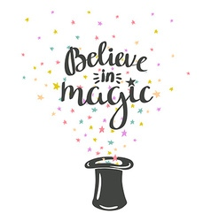 Magic hat background with stars and inspiring vector