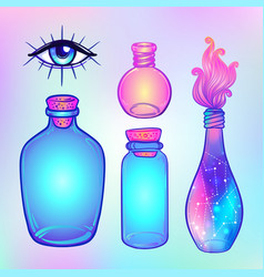 magic potion blue bottle jar set with pink moon vector image