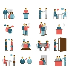 Meeting People Flat Color Icons vector image
