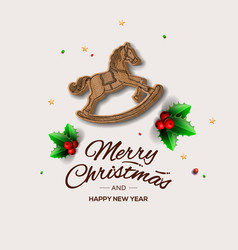Minimalist style christmas greeting card with vector